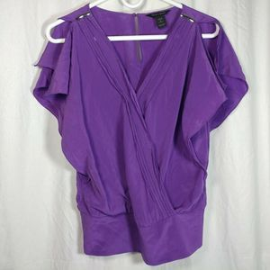 Whbm small shirt silk purple flutter wrap bubble